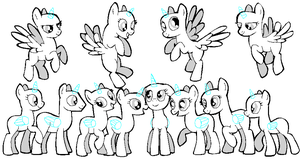 Pony group base (MS paint) by jazzlovessilkies