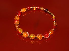Fiery Wire-wrapped Bracelet by Alicat59