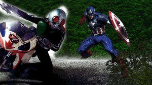 Marvel Captain America Vs Kamen Rider 1 by Digger318