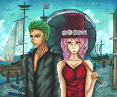 Roronoa zoro and perona by he1lfire