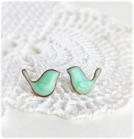 Mint Birds stud Earrings by IrenkaR