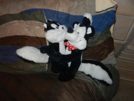 Pepe Le Pew/Penelope Cat hugging plush doll combo by dth1971