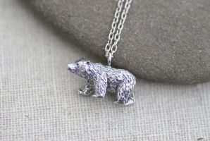 Silver Bear Necklace by foowahu-etsy