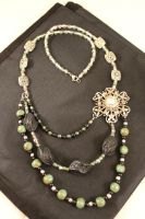 Earth and Jewels Asymmetrical Necklace by chromegoddess