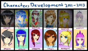 Characters Development 2011 - 2013 by MaeMe96
