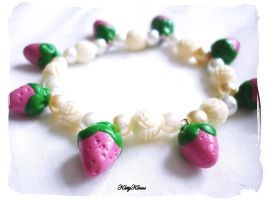 Pink Strawberry Pearl Bracelet by Cateaclysmic