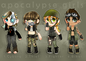 ADOPTABLE: Apocalyptic girls [open] by miesmud