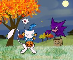 Mew and Haunter Trick-or-treat by sunnyfish