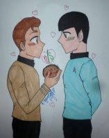 Kirk, Spock and a Tribble by aslyumbutterfly