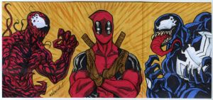 3 sketch card puzzle Deadpool calm down venom by mdavidct