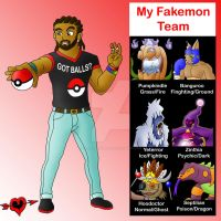 My Trainer and Fakemon Team by JamalPokemon