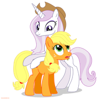 Fleur the posing pony and Applejack - PNG by Larsurus