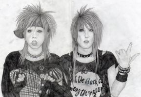 Maya + Aiji pencil drawing by mortaz