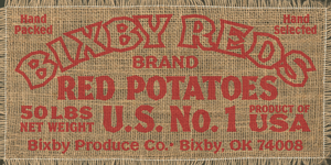 Vintage sign poster potato sack font by Phrostbyte64