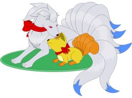 Shiny Ninetails and Vulpix by Zero20-2