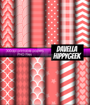 12x Scrapbooking Papers 8.5x11 Spring Red Pattern by DavellaHippygeek