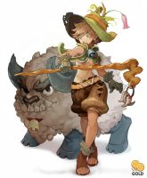 Sheep and girl by 2gold