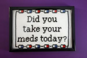 Cross Stitch Did You Take Your Meds Today? by PkmnMasterTash