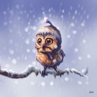 Little owl feeling cold in the snow by ArtofOkan