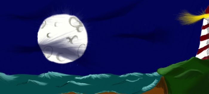 Lighthouse and Moon by inuangelxx