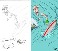 Old Man Surfing (Sketch) compare by Koman07