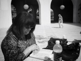 Reading by Wilshire Fountains by bQw