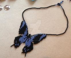 Butterfly Necklace - Black, Blue and Purple Lined by WhiteMagicPriestess