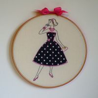 Embroidery 50s lady in blue spotty dress by Debbiemade