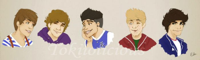 One Direction Sketches (all 5) coloured by Tokiiolicious