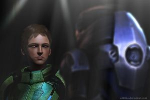 Angry Shepard and Garrus by Valfrika