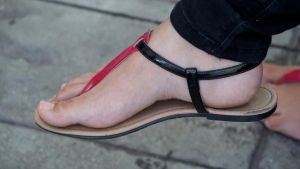 Ariadna's Pink and Black Flat Sandals V by Feetatjoes