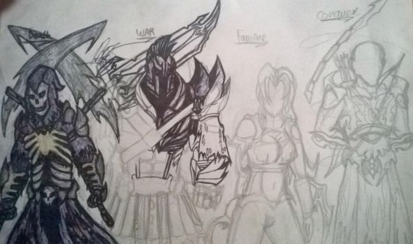 WIP Concept: The Four horsemen of the Apocalypse by cOmicBrooks