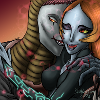 Zant and Midna nuzzle by Gingerscoffee