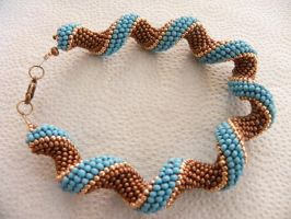 Copper Blue curly Bracelet by sweetdream20