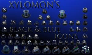 black and blue icon set by xylomon