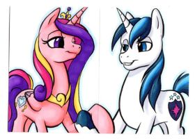 PRINCESS CADANCE and SHINING ARMOR Cards by RetroStarLing