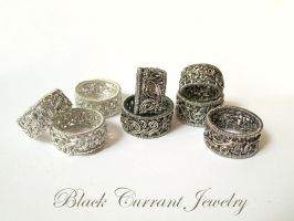 Twists and Swirls - Sterling Silver Band Rings by blackcurrantjewelry