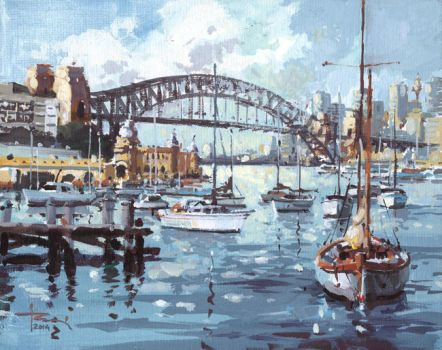 Lavender-Bay-Sydney 2-by-tony-belobrajdic Tempera by artiscon