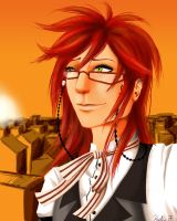 Grell on the Rooftop by DarkMuse112