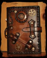 steampunk note book leather cover by Lagueuse