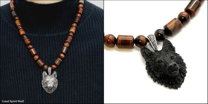 Tribal Wolf on Red Tiger's Eye Necklace by GoodSpiritWolf