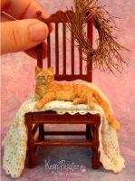 Miniature Ginger Tabby Cat sculpt with furry coat by Pajutee