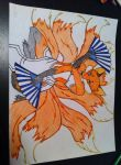 Kitsune Drawing - Step 7 - Partially Colored by Ashsong0