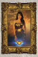 Wonder Woman in Gold Guilded Frame by bolloboy