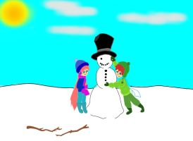 building snowmen with max and marlie by vulpix15