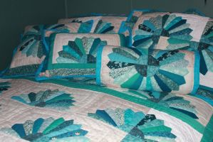 Fan Quilt With Pillows - Close-Up by Thy-Darkest-Hour