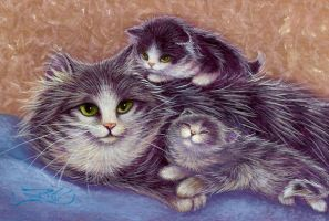 Momma and Kittens OSWOA by carefulwhatyawishfor