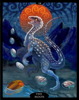 The Dinosaur Tarot - 18 - The Moon by Droemar