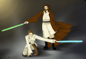 Master and Apprentice::Qui-Gon and Obi-Wan by EchoxCrash