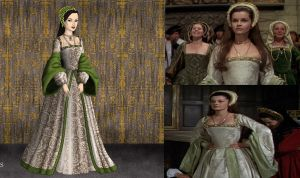 Anne Boleyn: Green and white Dress by Inuyashasmate